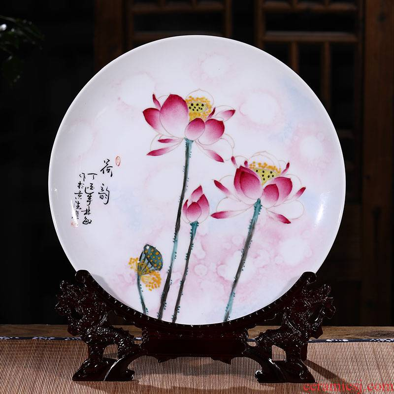 Jingdezhen ceramic decoration plate hang dish sitting room place, Chinese style household act the role ofing is tasted wine accessories creative arts and crafts