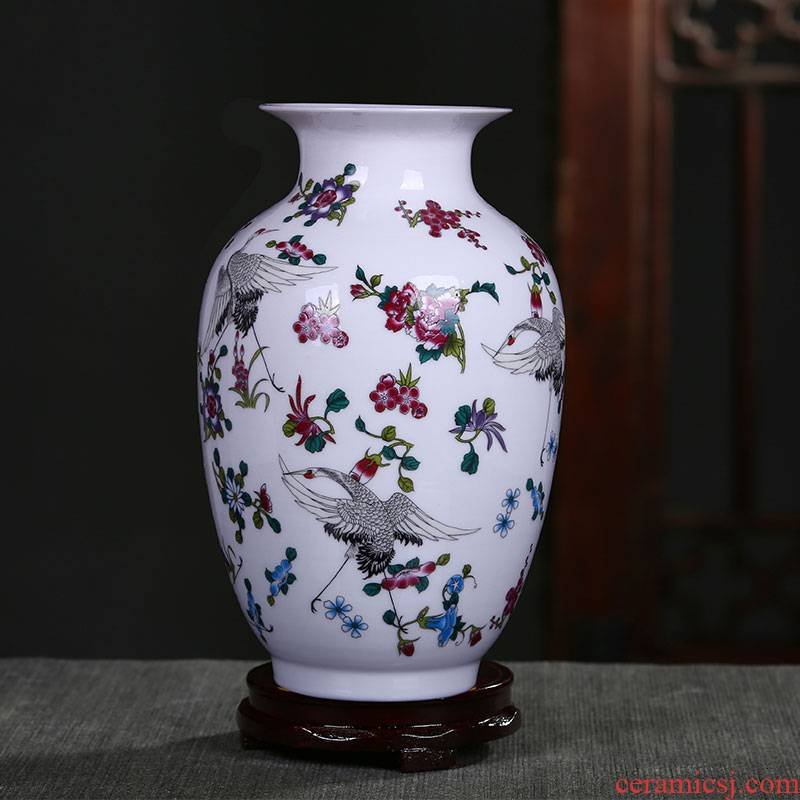 Jingdezhen ceramic vases, rich ancient frame of Chinese style household furnishing articles floret bottle luminous porcelain porcelain flower arranging flower implement partition