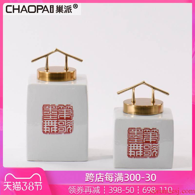 New Chinese style stamp ceramic storage tank furnishing articles hallway feel porch ark decoration TV ark, wine accessories
