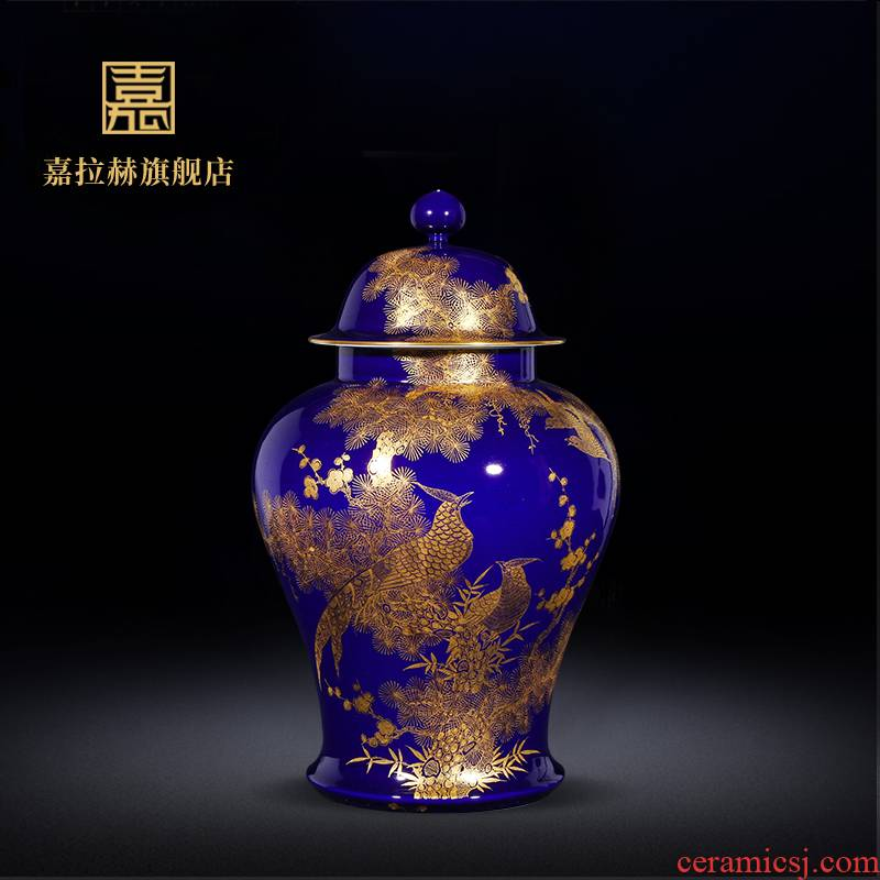 Manual ji jia lage jingdezhen ceramics general blue pot home decoration furnishing articles sitting room collection big vase
