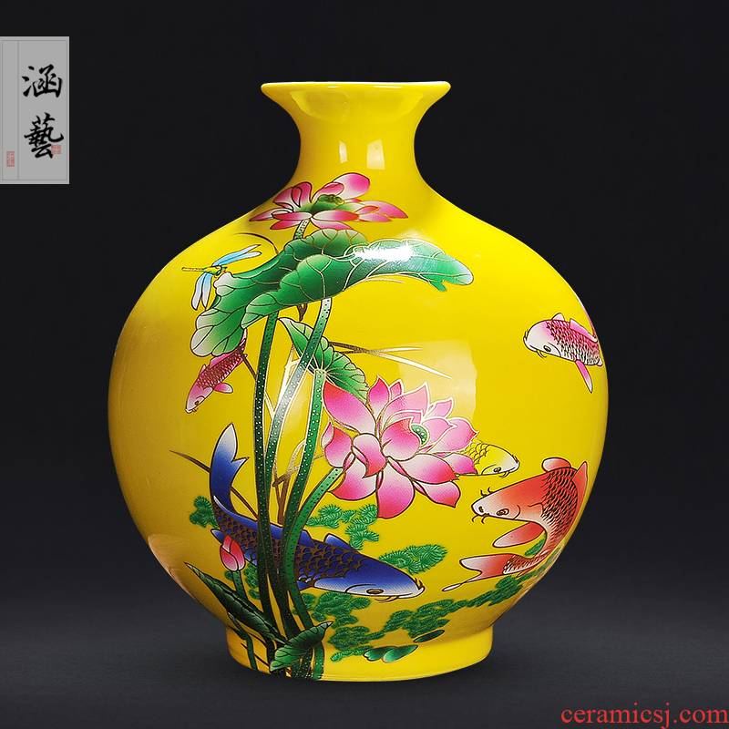Jingdezhen ceramics yellow every year more than the vase sitting room of Chinese style household adornment handicraft furnishing articles arranging flowers