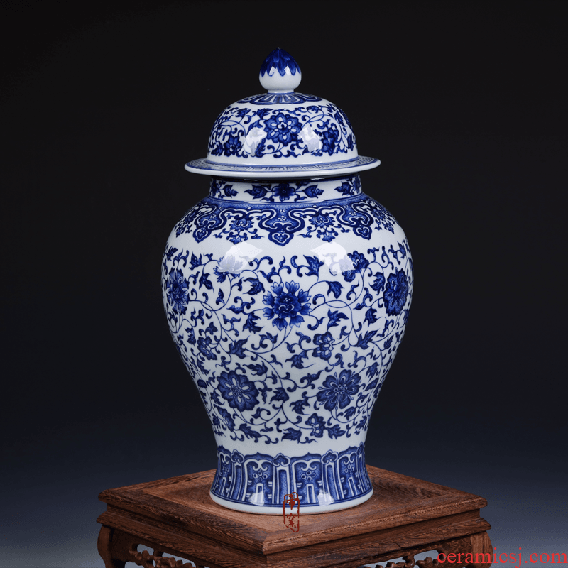 Jingdezhen ceramic antique hand - made vases, flower implement general blue pot cover of blue and white porcelain porcelain Chinese style furnishing articles