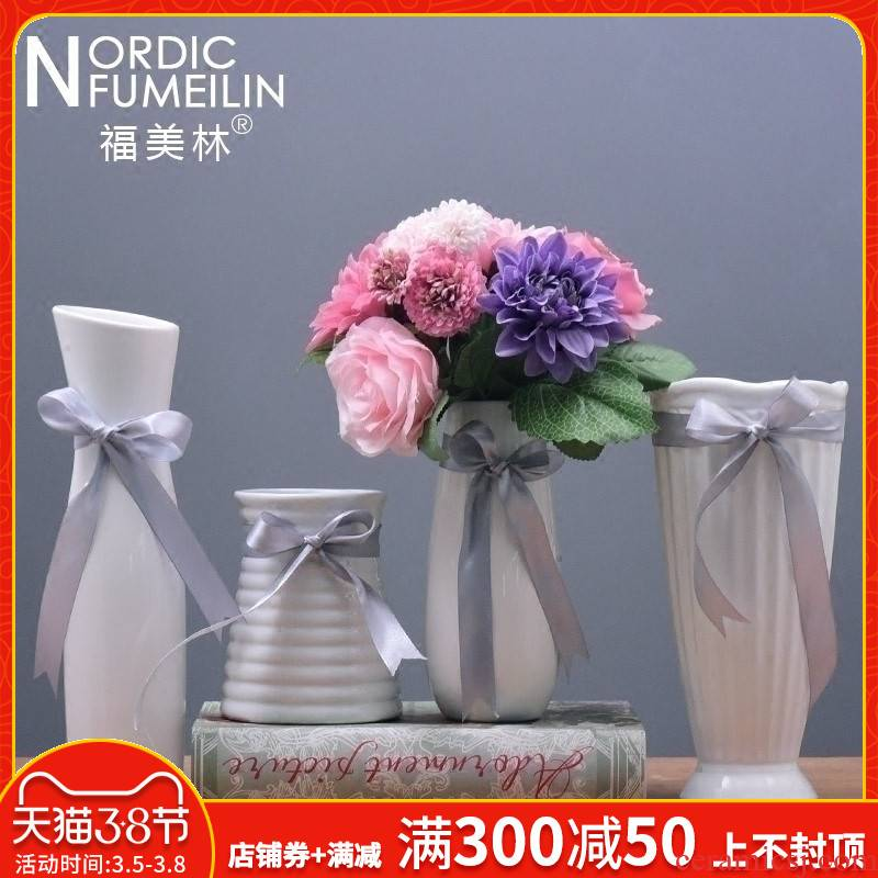 White ceramic vases, I and contracted Japanese lovely flower implement ikea home furnishing articles style small household business