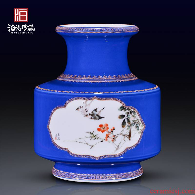 Jingdezhen ceramic offering blue see colour dress birds and flowers in the vase of new Chinese style household furnishing articles rich ancient frame sitting room decoration