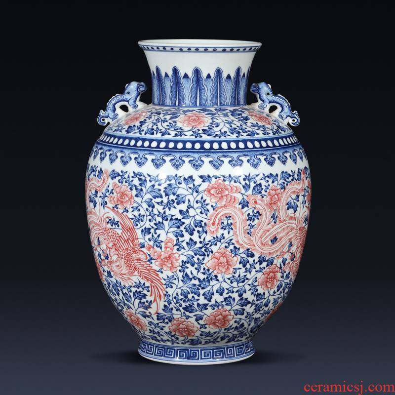 Jingdezhen ceramics imitation qianlong hand - made the ears of the blue and white porcelain vase Chinese rich ancient frame sitting room adornment is placed