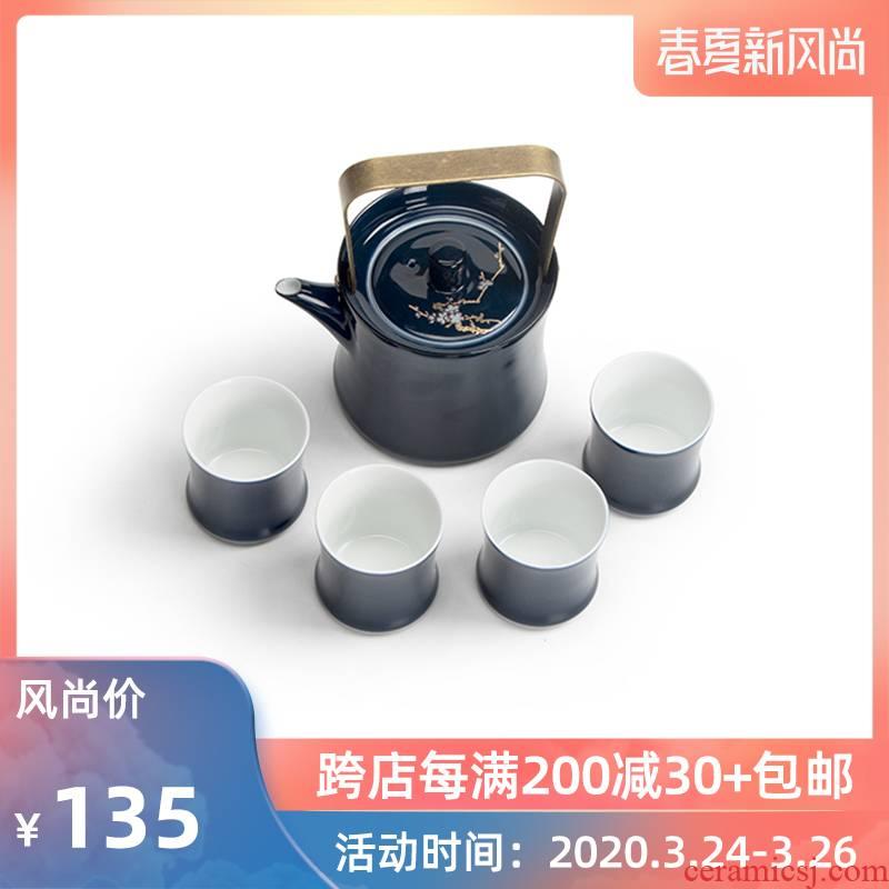 Mr Nan shan name plum flower pot of ceramic teapot teacup ji blue filter girder combination creative kung fu tea set