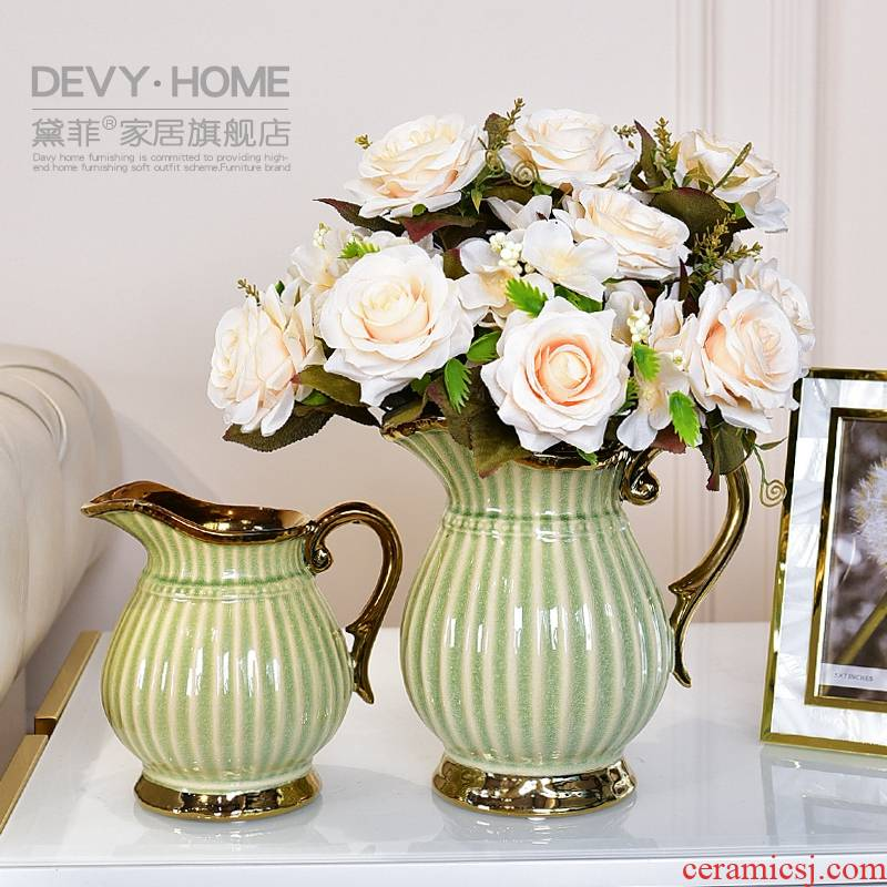Light European - style key-2 luxury ceramic vases, I and contracted sitting room tea table table floral household decorations TV ark, furnishing articles