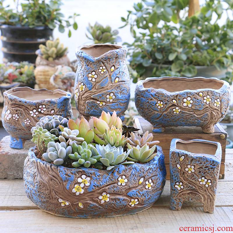 Creative fleshy flowerpot ceramic special offer a clearance indoor ventilation flesh character potted flower pot in coarse pottery large caliber