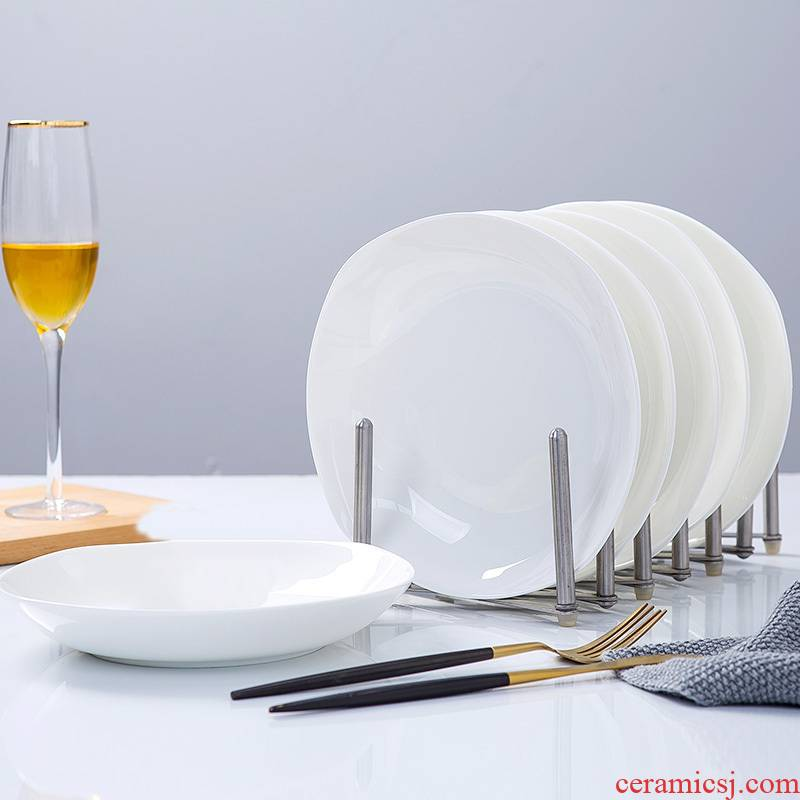 Pure white ipads porcelain dishes son home ideas of jingdezhen ceramic tableware square salad deep dish cooking soup plate
