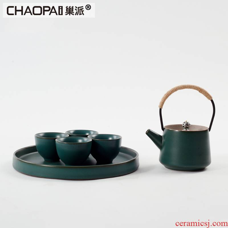 The New Chinese zen tea tea set example room soft furnishing articles ceramic kung fu tea set teahouse tea table decorations