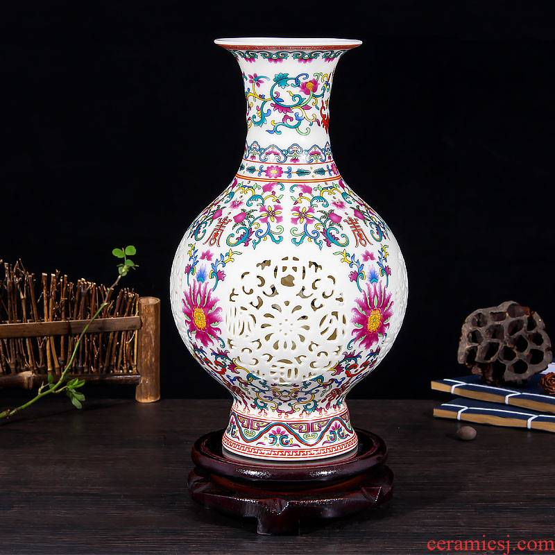 Mesa of jingdezhen ceramics hollow - out thin foetus enamel vase of modern Chinese style household decorates sitting room creative furnishing articles