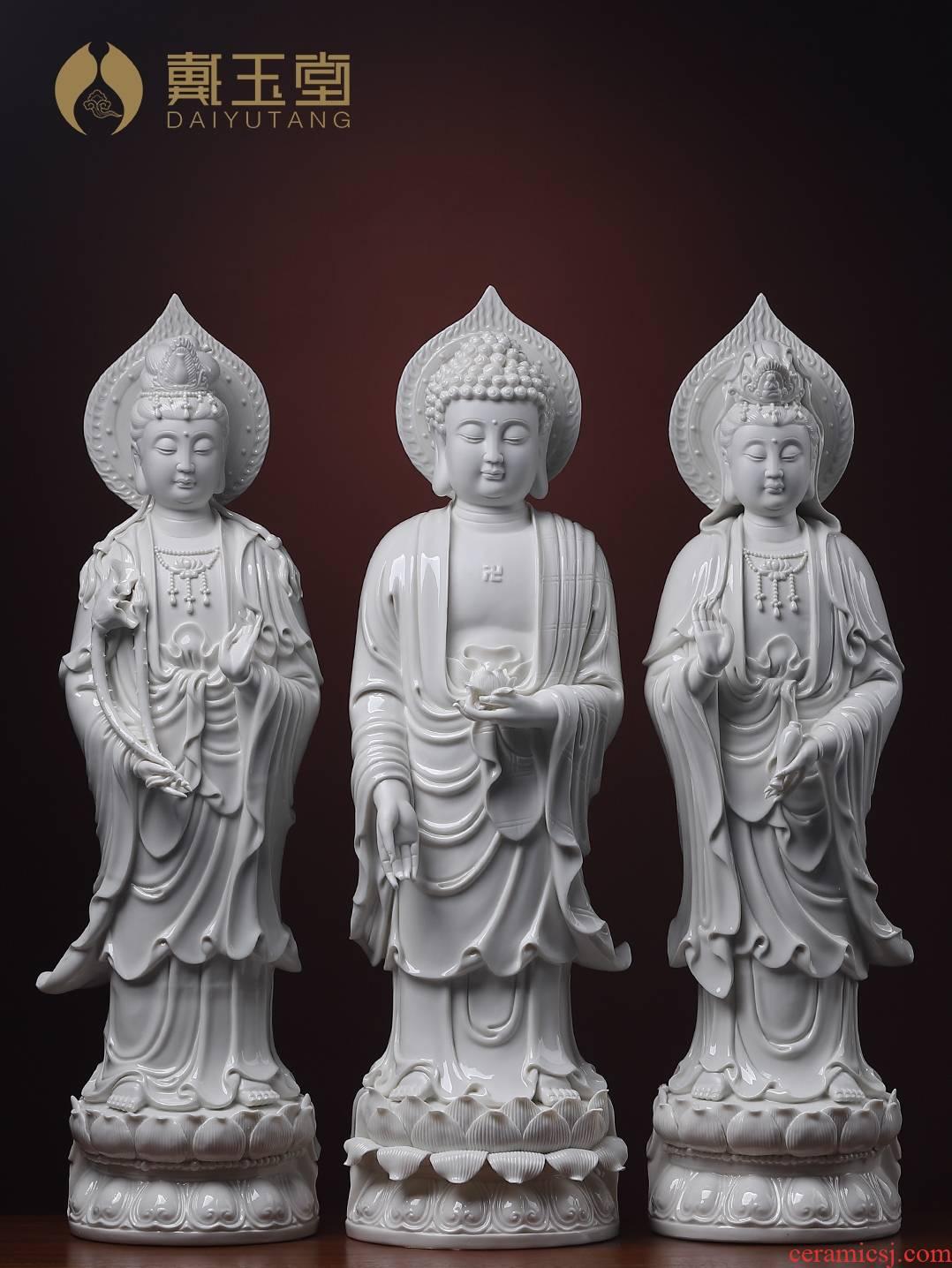 Yutang dai 24 inch ceramic three western spirit as furnishing articles dehua white porcelain guanyin Buddha handicrafts