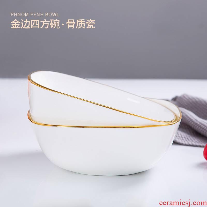Jingdezhen ipads bowls square bowl of Japanese style up phnom penh ceramic bowl large household creative fruit salad bowl bowl of soup bowl