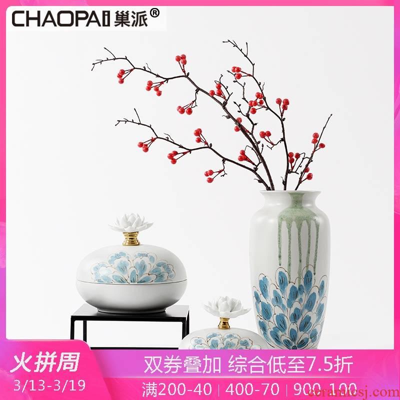 Modern ceramic vases, flower arrangement of new Chinese style furnishing articles sitting room TV ark, soft adornment porcelain jar example room decoration