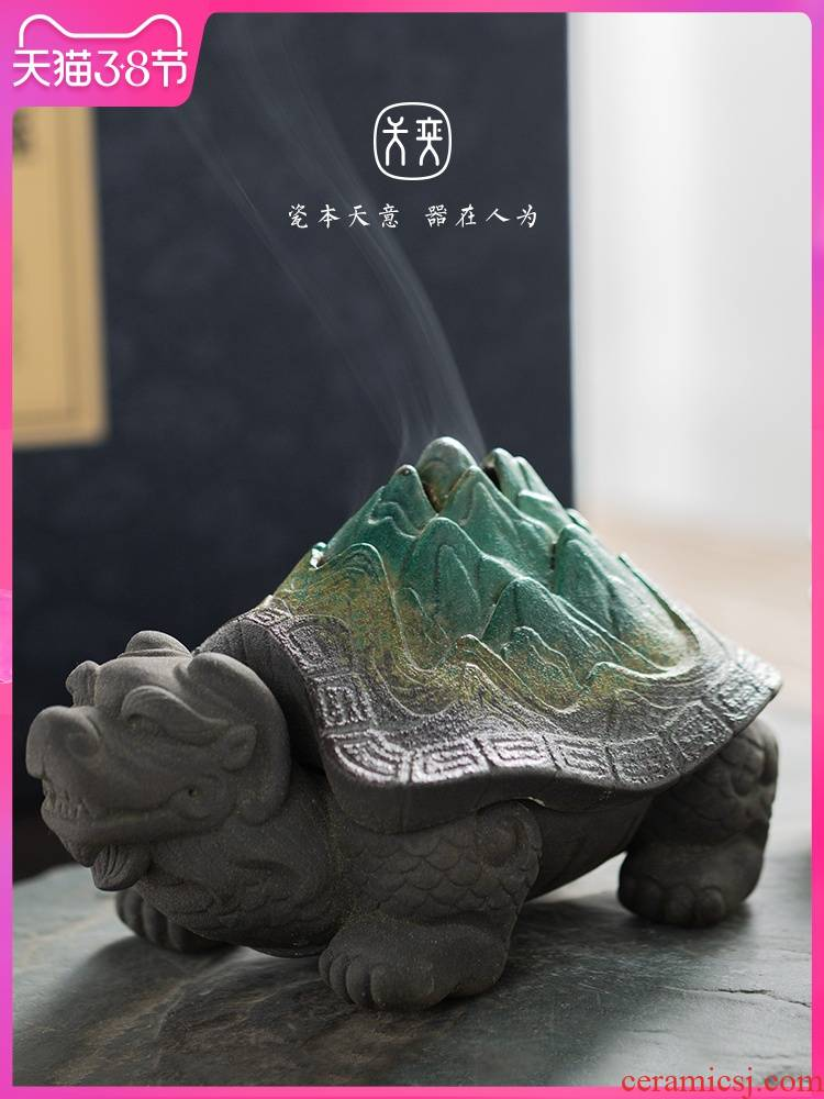 """Dragon tortoise"" day yi ceramic incense buner household indoor purify air tea fragrant incense tower Chinese creative furnishing articles"