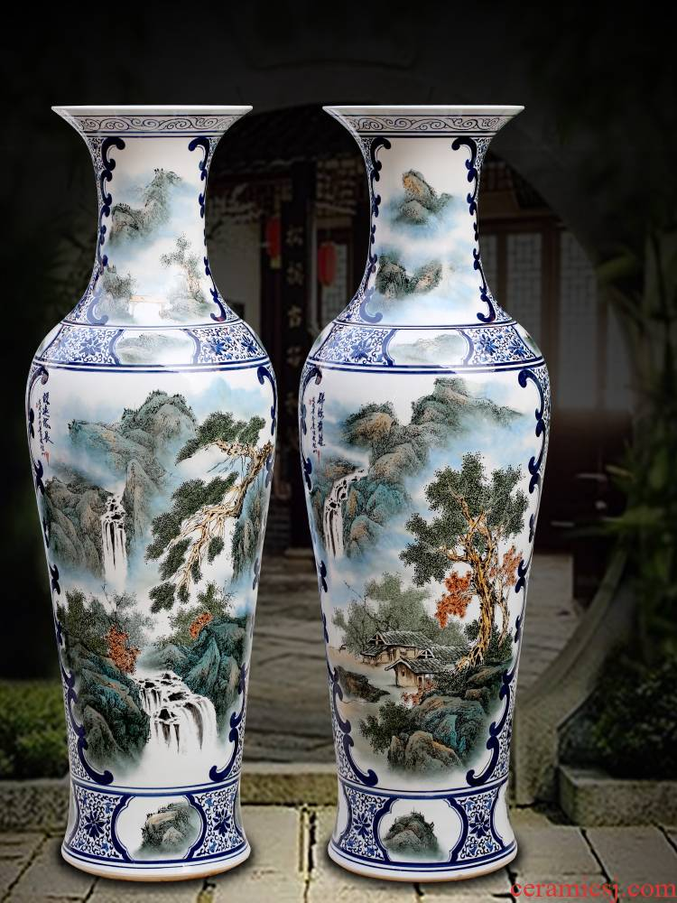 Jingdezhen ceramics has a long history in the hand draw pastel landscapes of large vases, home furnishing articles sitting room adornment