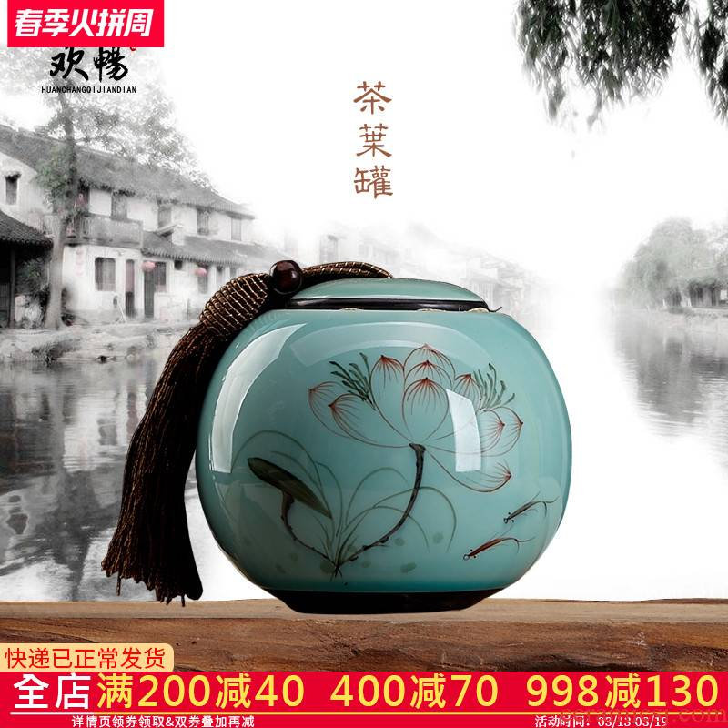 Jingdezhen hand - made ceramics caddy fixings tea, green tea tieguanyin tea pot seal pot lotus home trumpet