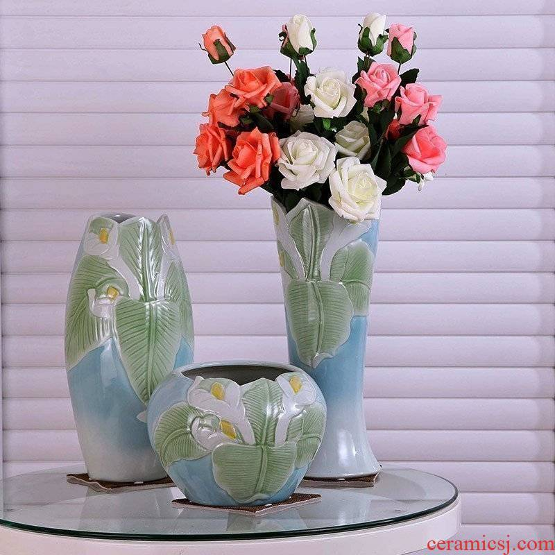 Modern European rural household act the role ofing is tasted three - piece ceramic vase fashion flower home furnishing articles ornaments