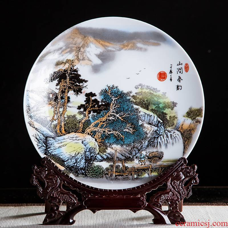 Jingdezhen ceramics 10 inch mountain stream ChunYun decorative hanging dish sat dish home rich ancient frame office crafts
