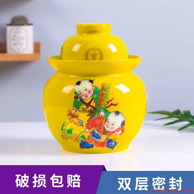 Jingdezhen ceramic pickle jar sauerkraut pickled small medium sealing soil pottery son home upset pickle jars