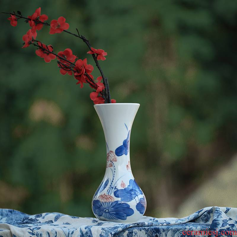 Jingdezhen ceramic hand - made porcelain vases, I and contracted household act the role ofing is tasted China lotus scenery figure