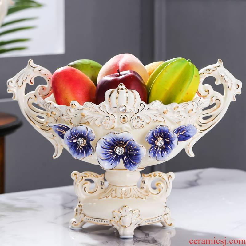 Fort SAN road new royal blue name plum European ceramic bowl sitting room adornment is placed large European ceramic fruit bowl