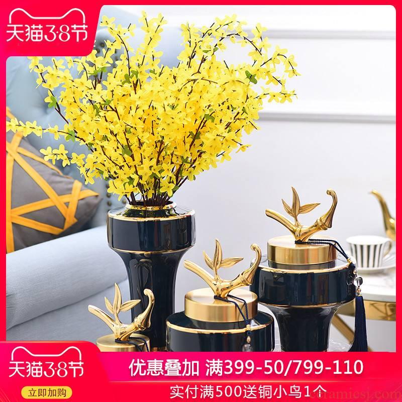 Light key-2 luxury home sitting room ceramic vase restoring ancient ways furnishing articles household dry flower arranging flowers adornment ornament H1078 blue
