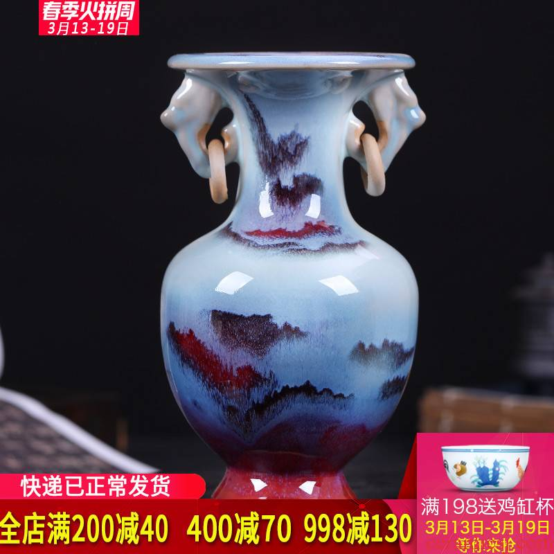 Archaize jun porcelain of jingdezhen ceramics ears floret bottle of flower arrangement of the sitting room of Chinese style household wine restoring ancient ways furnishing articles