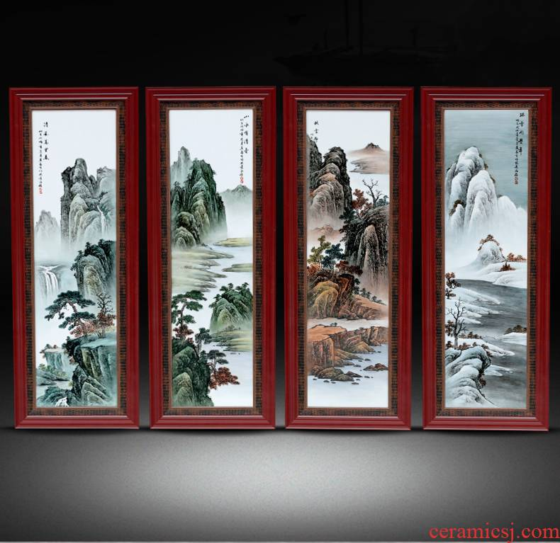 Jingdezhen ceramic plate the draw four screen hand - made pastel landscapes hang a picture to the sitting room adornment picture of new Chinese style antique painting