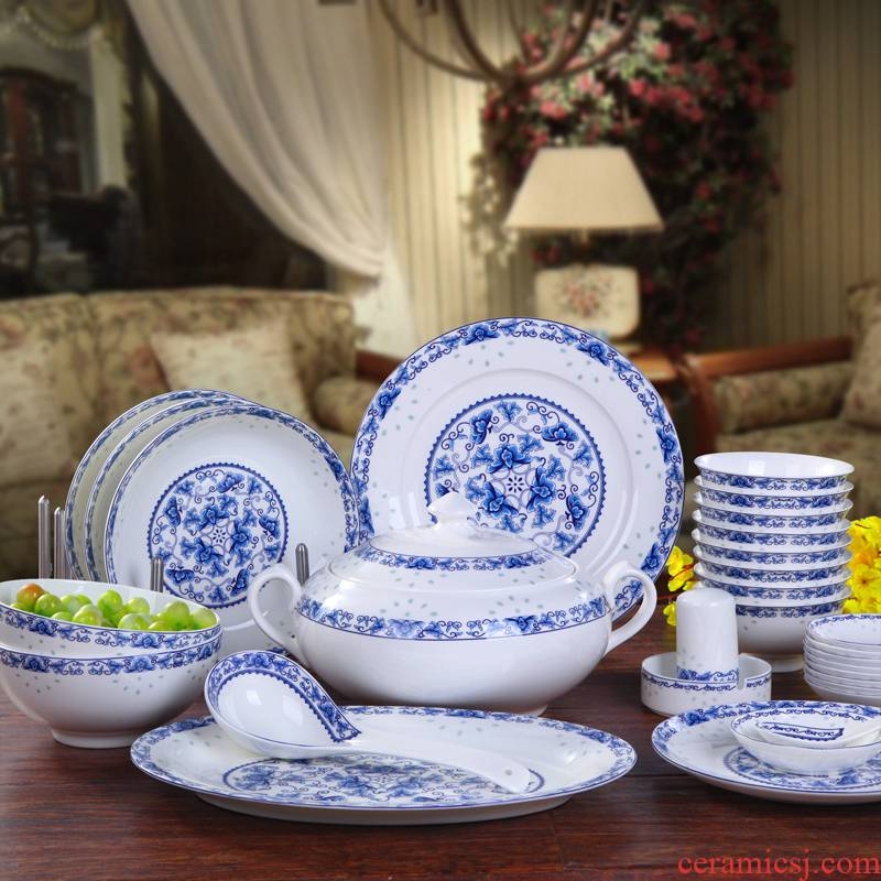 Jingdezhen blue and white and exquisite dishes suit Chinese ipads porcelain tableware glair household food dish wedding housewarming gift