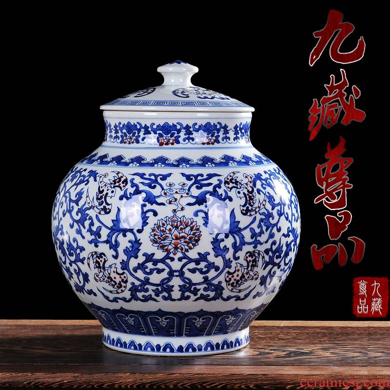 Archaize of jingdezhen ceramics glaze of blue and white porcelain vase put lotus flower storage tank classical household handicraft furnishing articles