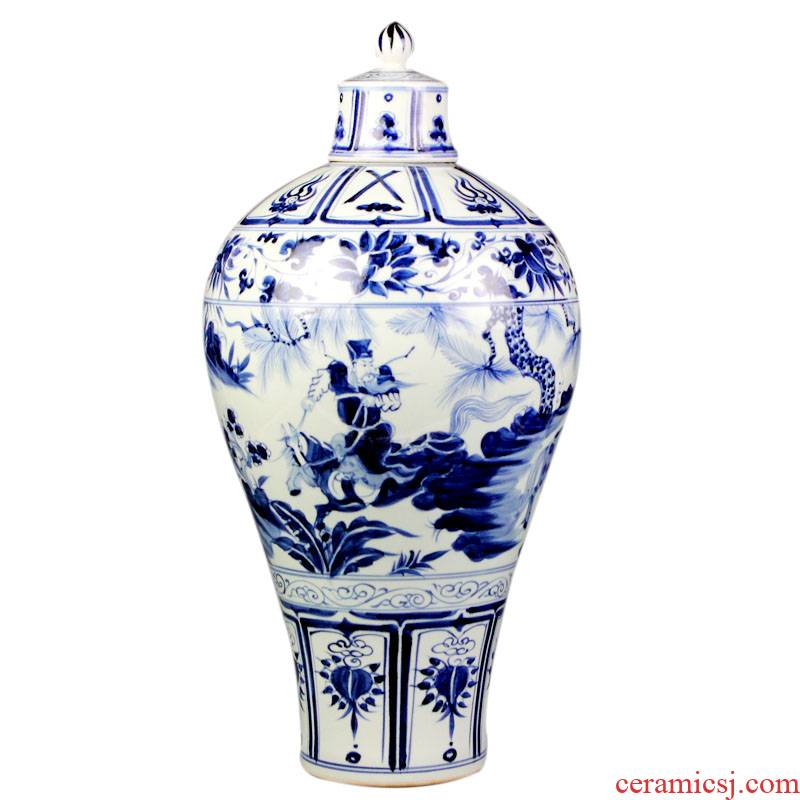 Jingdezhen ceramics under the hand - made antique imitation of yuan blue and white porcelain vase Xiao Heyue after han xin sitting room adornment is placed