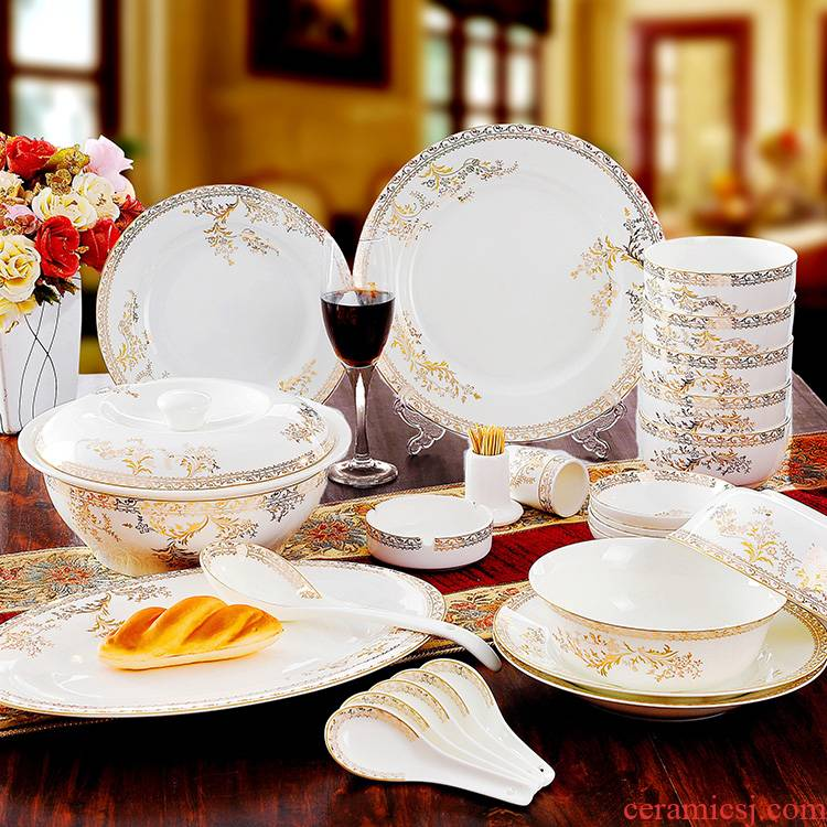 Package mail - 56 head of jingdezhen ceramic tableware suit dishes dishes o wedding gift lake Chesapeake rainbow such use