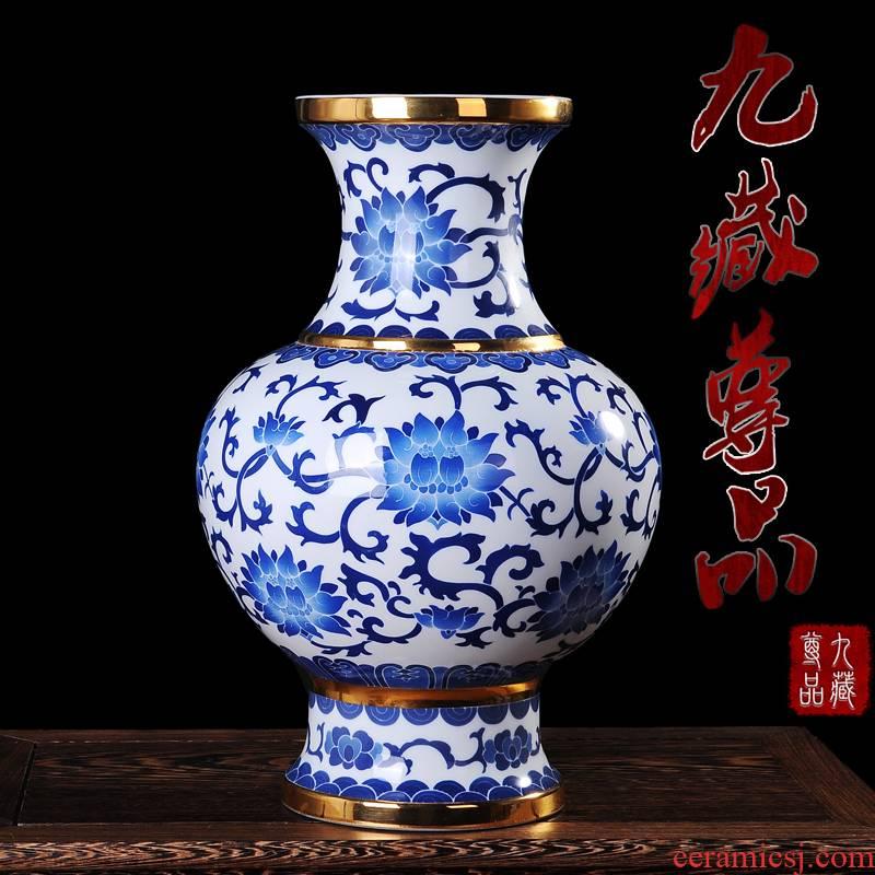 Jingdezhen ceramics gold hand - made vases, flower, the lotus seed admiralty bottles of modern fashion handicraft furnishing articles