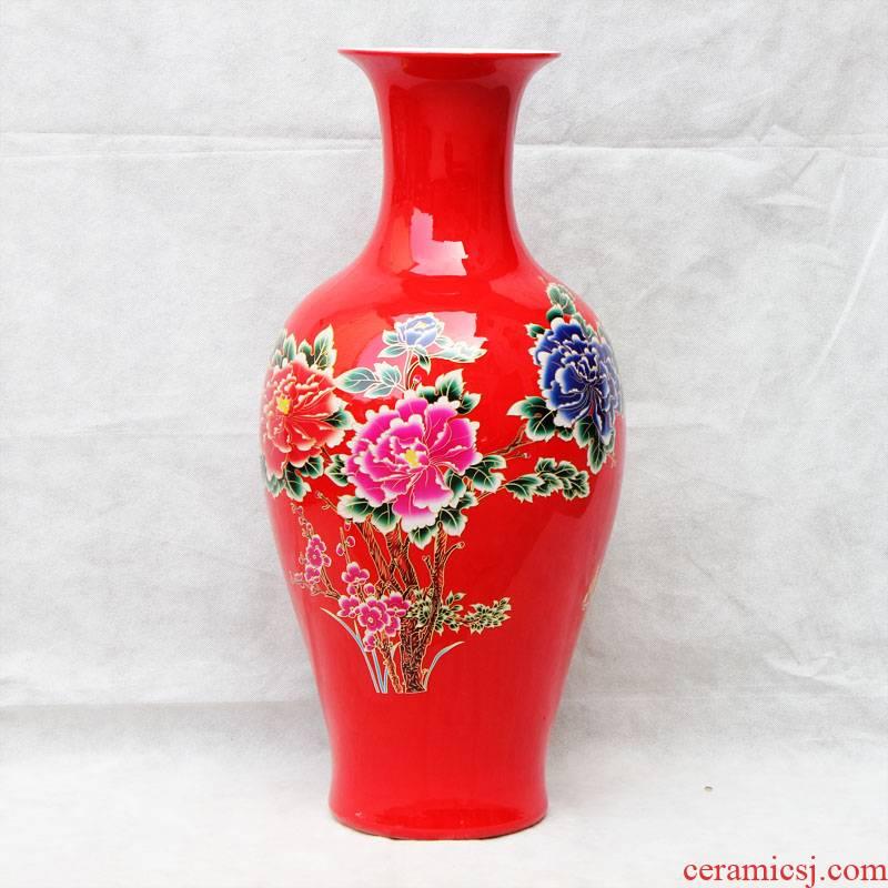 Rich aj34 jingdezhen ceramics red flowers open China vase landed a large sitting room porch place ornament