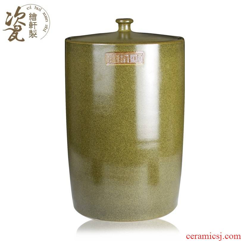 Jingdezhen ceramic ricer box tea at the end of the barrel storage tank jars of it with the cover