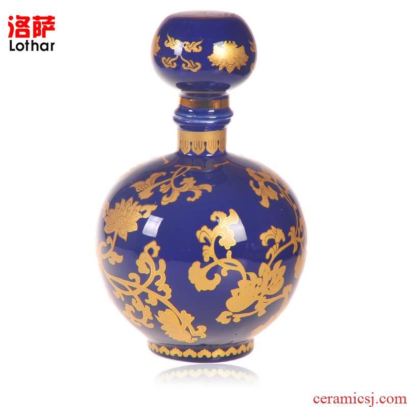 5 jins of jingdezhen ceramics with high liquor bottle seal hip art cover ball porcelain bottle wine jars 5 jins
