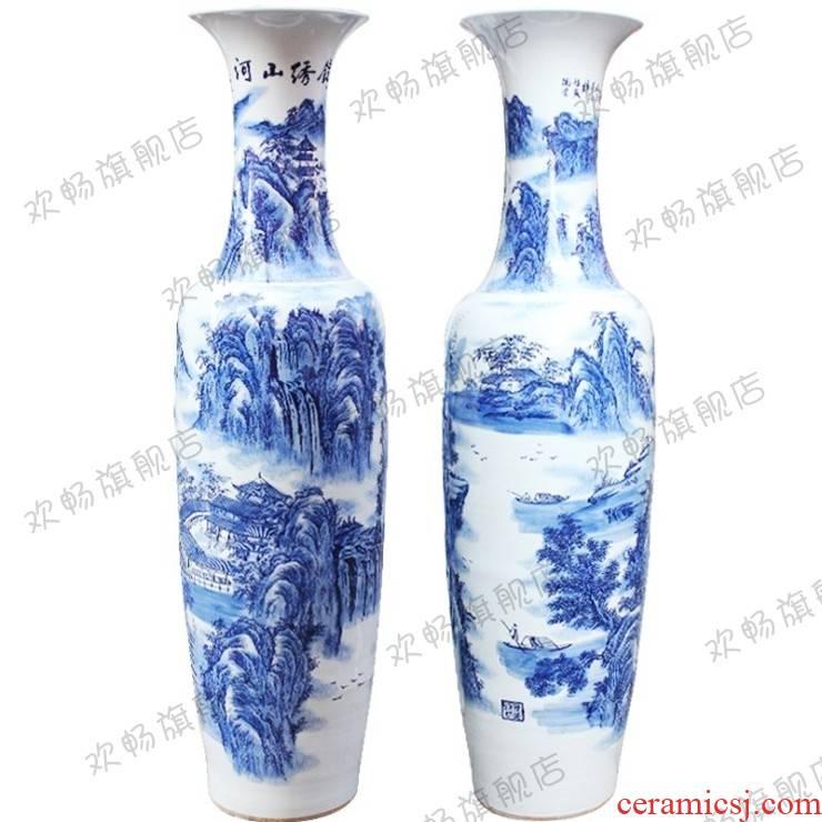 Ch - y1 jingdezhen ceramics of large blue and white porcelain vase landscape splendid sunvo sitting room adornment is placed