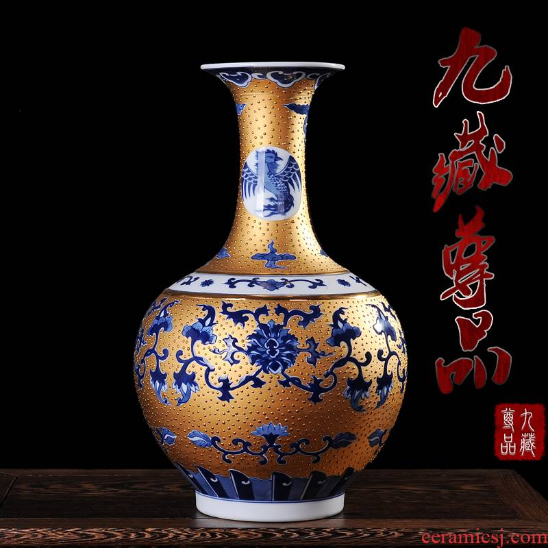 Jingdezhen ceramics gold hand - made sweet reward bottle vase and I and fashionable adornment handicraft furnishing articles in the living room