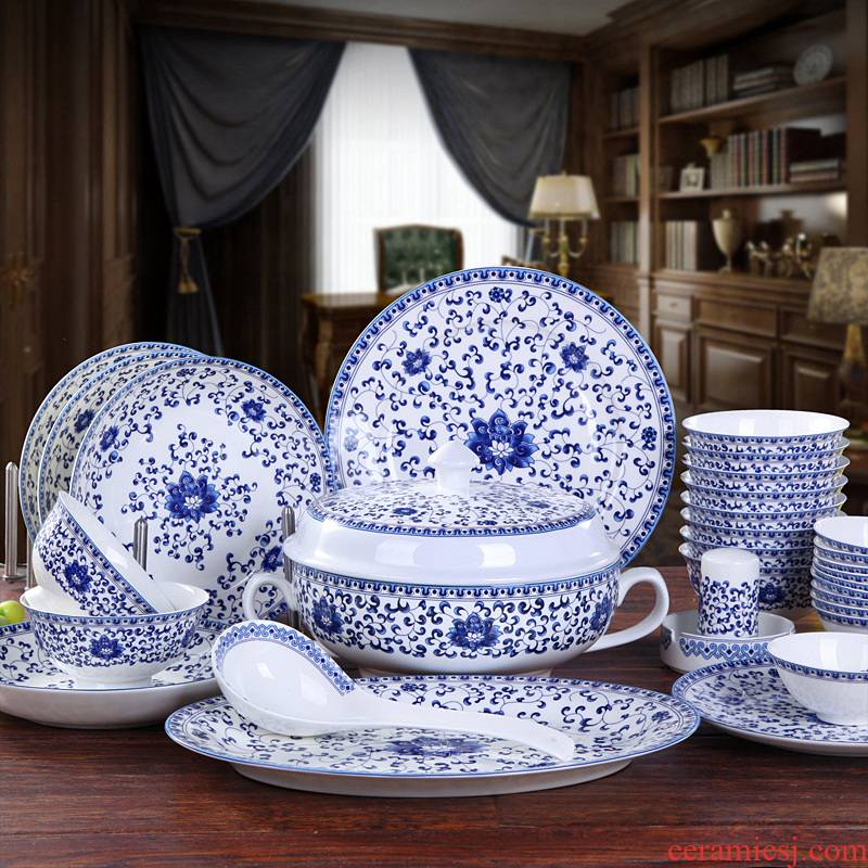 Jingdezhen dishes suit Chinese style household tableware to eat to use a single ceramic bowl of soup bowl dish plate set small bowl