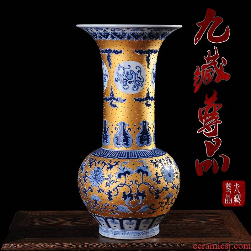 Jingdezhen ceramics gold hand - made vases, flower receptacle emperor bottles of modern household handicraft furnishing articles