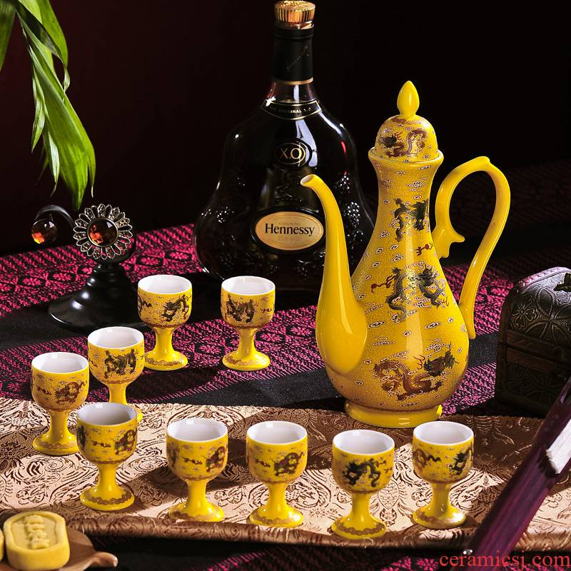 Lothar is a complete set of Chinese jingdezhen ceramics Huang Longwen liquor wine suits for a small handleless wine cup wine bottle wine wine wine