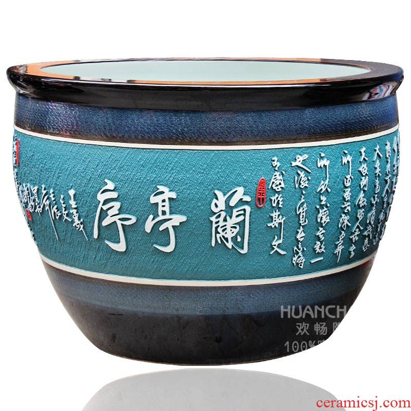 Large aquarium handicraftsmen goldfish turtle yg1 jingdezhen ceramics to heavy cylinder Large fish bowl hotel furnishing articles