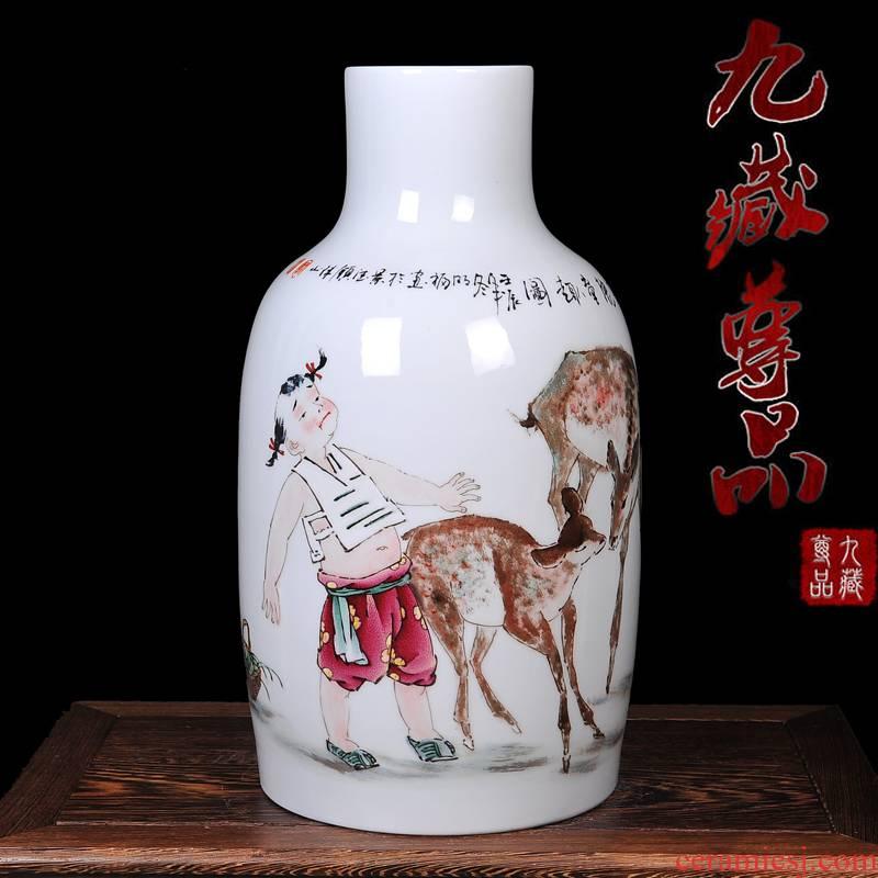 The Master of jingdezhen ceramics hand - made enamel vase deer rui tong qu I sitting room home handicraft furnishing articles