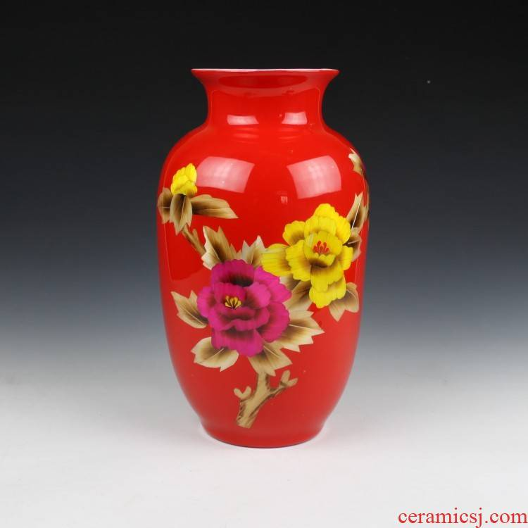 Chinese red straw painting modern vases, ceramic bottle gourd vases, jingdezhen ceramics