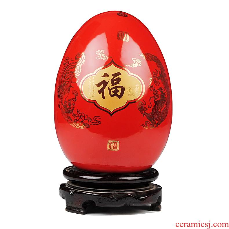 Jingdezhen Chinese red paint ceramic vase longfeng dense eggs a thriving business fashion wedding gifts gifts