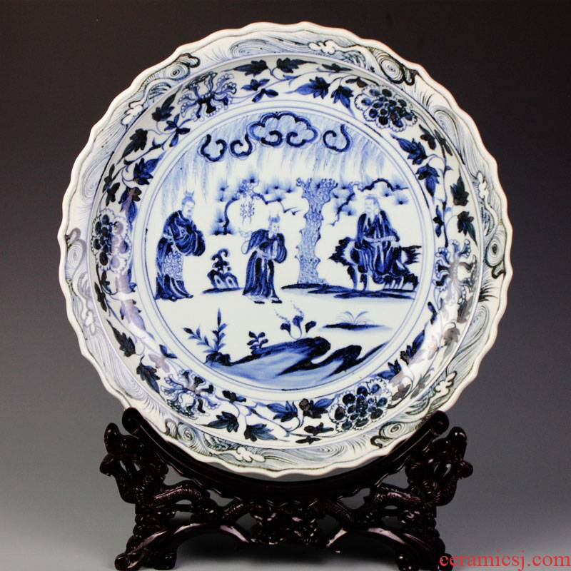 Blue and white porcelain of jingdezhen ceramics imitation yuan character decorative plate of archaize home sitting room adornment handicraft furnishing articles
