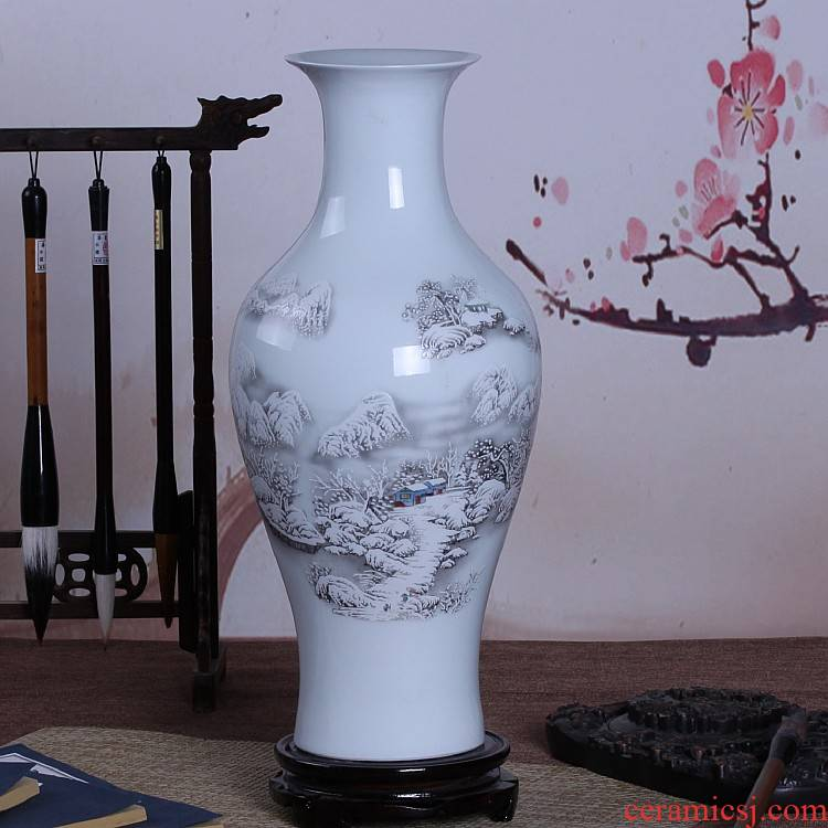 Jingdezhen ceramics medium snow fishtail vase flower arrangement sitting room decoration handicraft furnishing articles at home