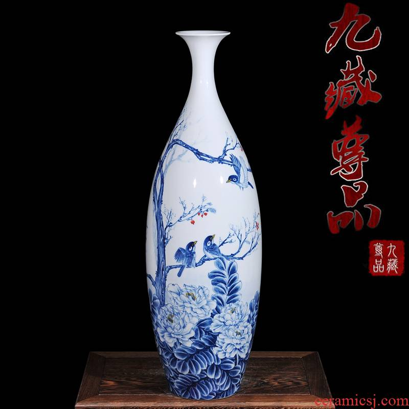 The Master of jingdezhen ceramic hand - made thin neck of blue and white porcelain vase of autumn song figure of modern home living room handicraft furnishing articles