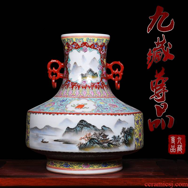 Jingdezhen ceramics handicraft collection place new classical colored enamel ears medium antique vase gift